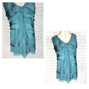 Loft Sleeveles Ruffle Layered Green Top Size Small